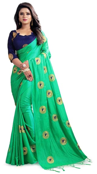 9479d30d2fa077 Indian Beauty Women's Green Color Sana Silk Saree With and Unstiched Blouse  Piece