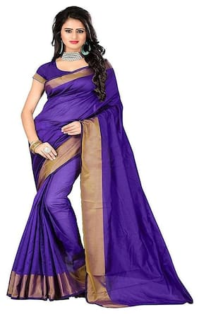 Indian Beauty Cotton Universal Zari work Saree - Purple , With blouse