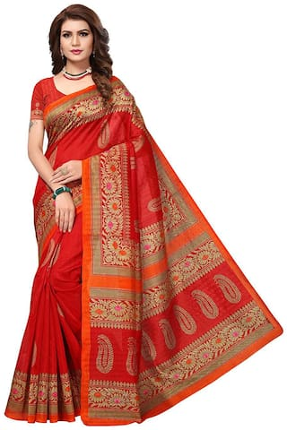 Indian Beauty Red Solid Universal Regular Saree With Blouse , With blouse