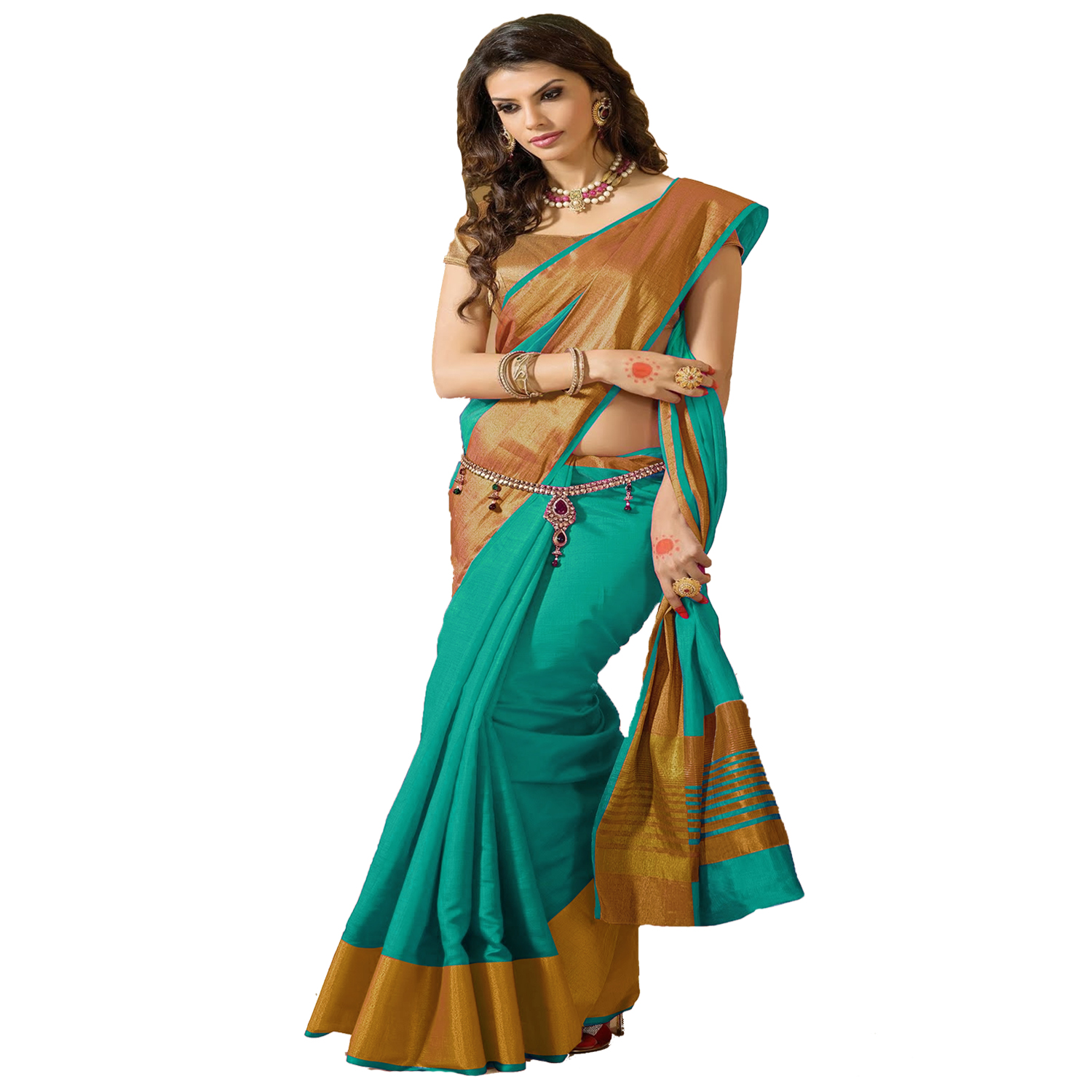 Indian Beauty Women's Art Silk Saree With Blouse