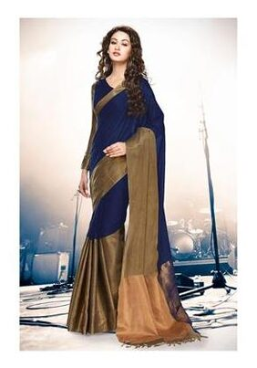 Indian Beauty Cotton Universal Tie & Dye Work Saree - Blue