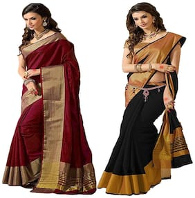 Indian Beauty Cotton Silk With Blouse Combo Of 02 Saree