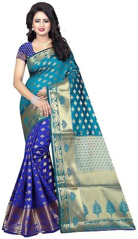 Indian Fashionista Women's Banarasi Silk Saree with Blouse Piece (ALK-BANARASISILK-RAMABLUE_Free Size_Ramablue)