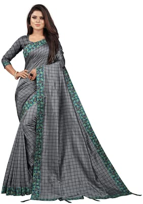 Indian Fashionista Women Checkered Silk Saree Grey
