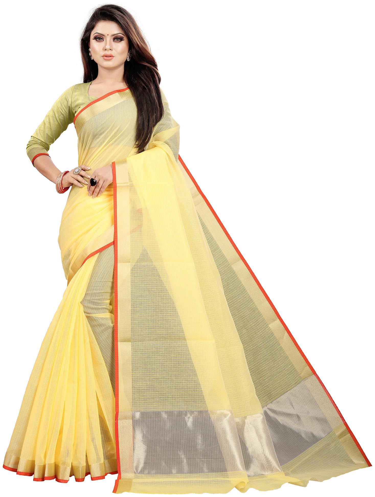 Indian Fashionista Women Checkered Cotton Blend Saree Yellow by Indian Fashionista