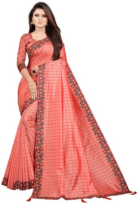 Indian Fashionista Women Checkered Silk Saree Pink