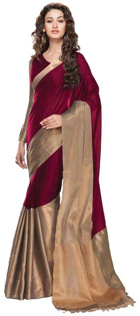Indian Fashionista Women's Banarasi Cotton Saree with unstiched Blouse Piece