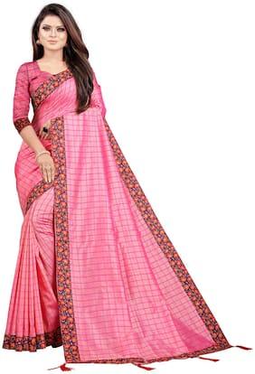 Indian Fashionista Women Checkered Silk Saree Pink