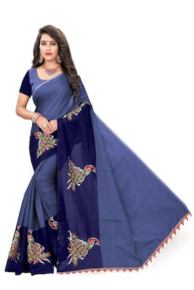 Indian Fashionista Blue Solid Banarasi Designer Saree With Blouse , With blouse