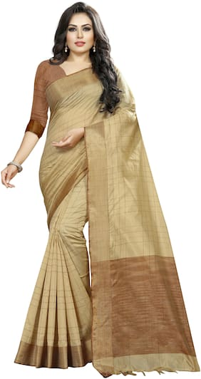 Indian Fashionista Silk Designer Saree Dupion Saree Cream