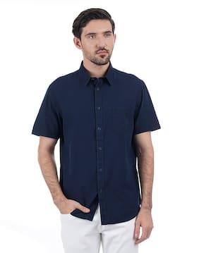 a06128eb85 Indian Terrain Men Blue Half Sleeve Shirt
