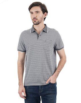 Indian Terrain Men Regular Fit Polo Neck Striped T-Shirt - Grey