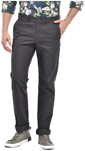 Indian Terrain Cotton Solid Men Trousers - Grey