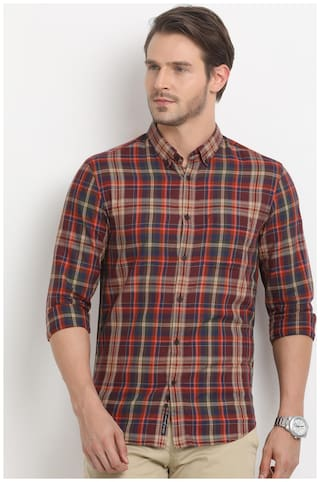 Indian Terrain Men Slim fit Casual shirt - Red