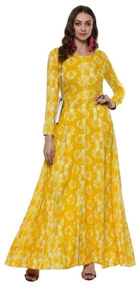 Indian Virasat Women Rayon Printed Anarkali Kurti Dress - Yellow