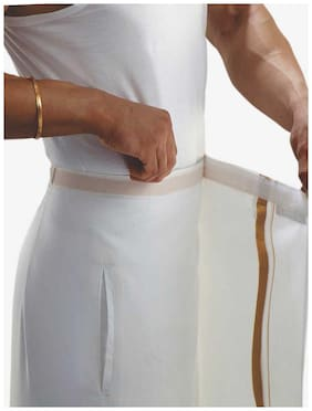 Indianpasand Cotton Solid Mundu Dhoti - White