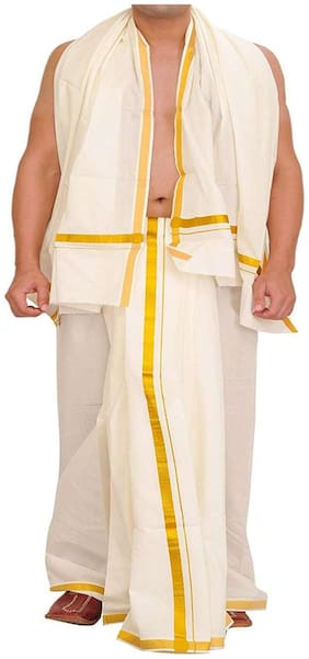Indianpasand White Cotton Dhoti and Angavastram For Men(Size:9x5)