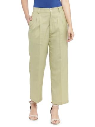 Indibelle Pista Solid Smart Straight Ankle Length Trouser.