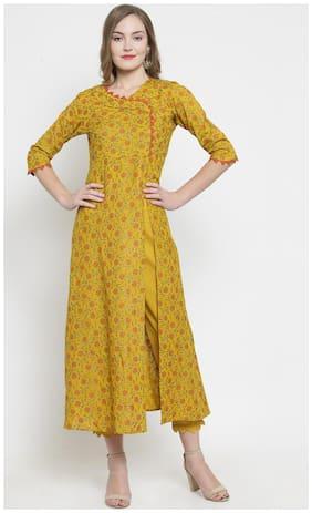 Indibelle Women Rayon Kurta With Pants (Yellow)
