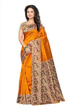 Indira Designer Women's Yellow Color Kalamkari Mysore Silk Printed Saree With Blouse