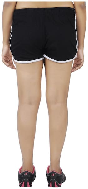 Indirang Women Printed Regular shorts - Black