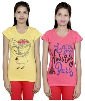 Indiweaves Women Round Neck T-Shirt - Yellow