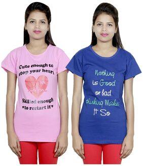 Indiweaves Women Round Neck T-Shirt - Pink