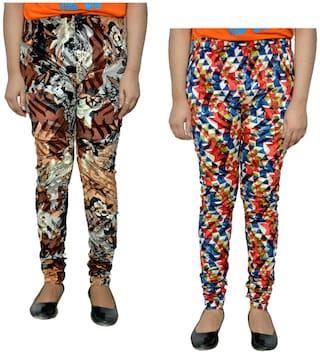 IndiWeaves Printed Velvet Leggings for Women Multi Color