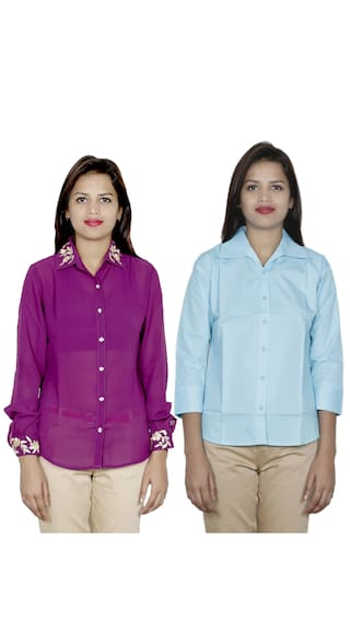 Shirts Georgette of 1 Cotton amp; Pack 1 Women's Shirt IndiWeaves 2 4TZ6vfg