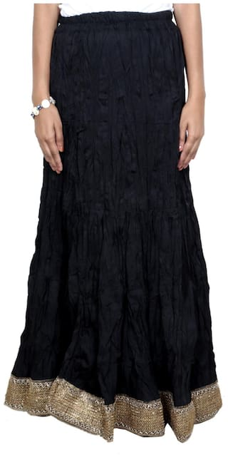 IndiWeaves Women Cambric Cotton Black Full Length Skirt