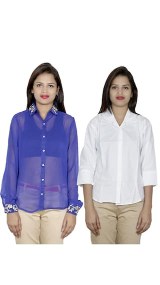 1 Shirt 1 of Pack Shirts IndiWeaves Cotton Women's Georgette amp; 2 UxqanRTw5