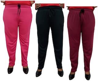 Indiweaves Women Regular fit Fleece Solid Track pants - Multi
