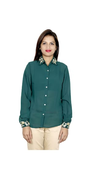 IndiWeaves Cotton Shirts amp; Women's 1 Shirt 1 Georgette 2 of Pack r1xRr7wPXq