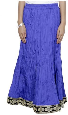 IndiWeaves Women Cambric Cotton blue Full Length Skirt