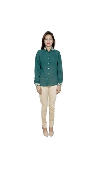 amp; Shirts Georgette of 2 Pack Cotton IndiWeaves 1 Women's Shirt 1 v7qH7txw