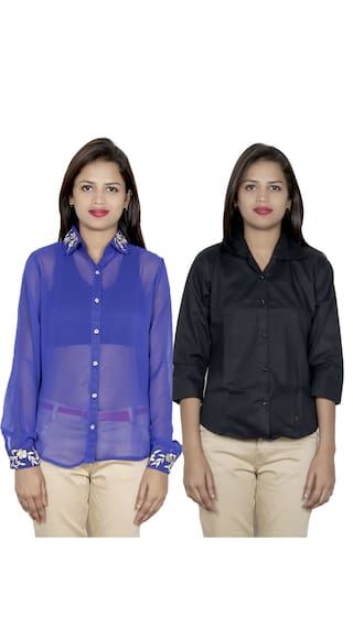 IndiWeaves Women's 1 Georgette & 1 Cotton Shirt (Pack of 2 Shirts)