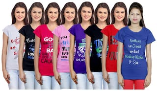 IndiWeaves Women Cotton Printed T-Shirt ( Set of- 8)