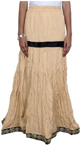 IndiWeaves Women Cambric Cotton Beige Full Length Skirt
