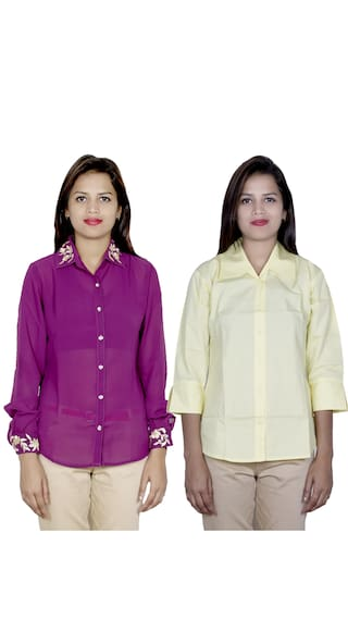 of Women's Shirt IndiWeaves Pack 1 amp; 2 1 Cotton Georgette Shirts pnqw8qTd
