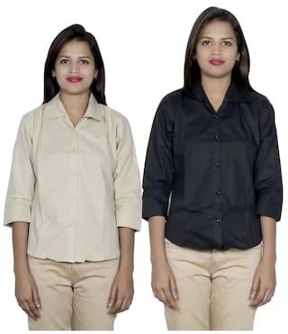 2 Women's 2 Shirts Shirt Cotton IndiWeaves of Pack 6azwTqqO