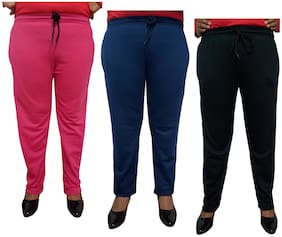Women Regular Fit Track Pants ,Pack Of 3
