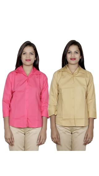 IndiWeaves Women's 2 Cotton Shirt (Pack of 2 Shirts)