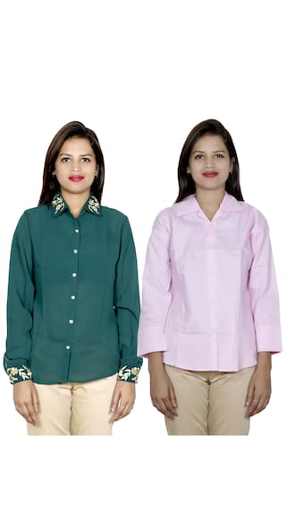 1 2 Shirt Cotton IndiWeaves Women's Georgette Shirts 1 of amp; Pack zwBBS4Iq