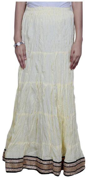 IndiWeaves Women Cambric Cotton Cream Full Length Skirt