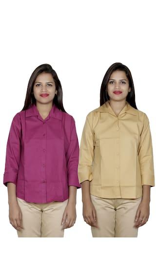 Cotton Shirt Shirts 2 Women's 2 IndiWeaves Pack of nxEvtvT0