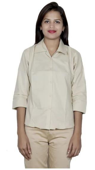 Beige IndiWeaves Plain Women's Shirt Cotton rqwSU0wEn