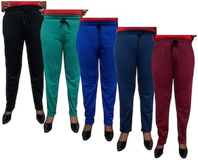 Women Regular Fit Track Pants ,Pack Of 5