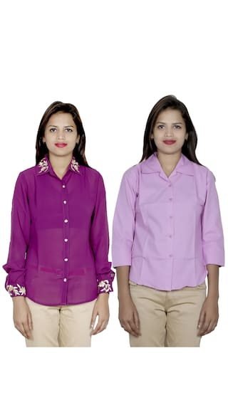 2 of Georgette 1 IndiWeaves Shirts 1 Cotton Pack amp; Shirt Women's zqcfwHCx6
