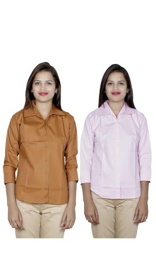 Pack 2 Cotton Women's IndiWeaves of Shirts 2 Shirt wxIZBYg