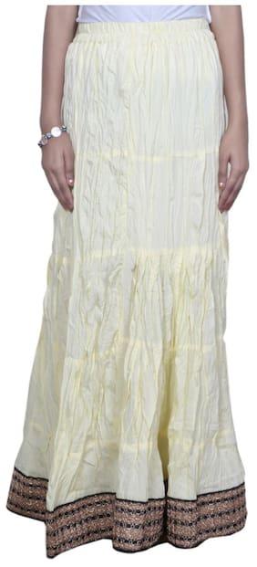 IndiWeaves Women Cambric Cotton White Full Length Skirt